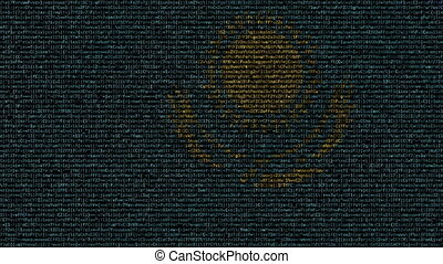 Waving flag of Kazakhstan made of text symbols on a computer...