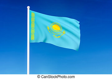 Waving flag of Kazakhstan on the blue sky background