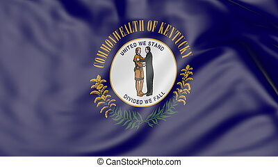 Waving flag of Kentucky state. 3D rendering