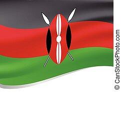 Waving flag of Kenya isolated on white