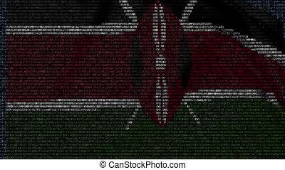 Waving flag of Kenya made of text symbols on a computer screen. Conceptual loopable animation
