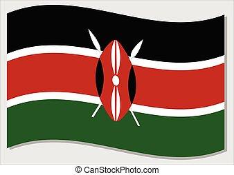 Waving flag of Kenya vector graphic. Waving Kenyan flag ...