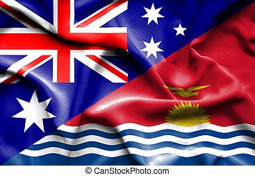 Waving flag of Kiribati and Australia