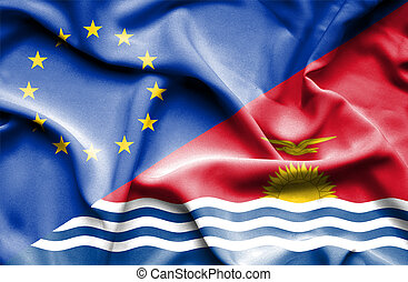 Waving flag of Kiribati and EU