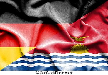 Waving flag of Kiribati and Germany