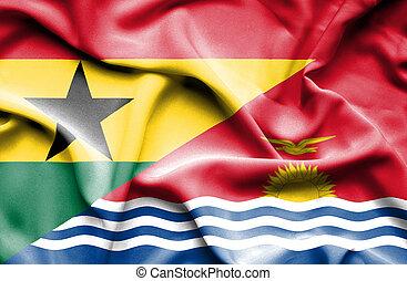 Waving flag of Kiribati and Ghana