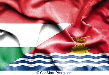 Waving flag of Kiribati and Hungary