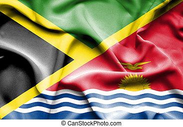 Waving flag of Kiribati and Jamaica