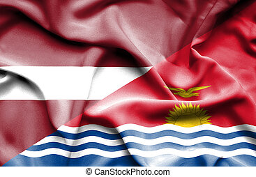 Waving flag of Kiribati and Latvia