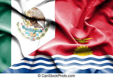 Waving flag of Kiribati and Mexico