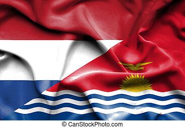 Waving flag of Kiribati and Netherlands