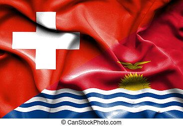 Waving flag of Kiribati and Switzerland