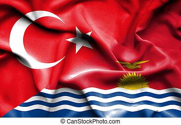 Waving flag of Kiribati and Turkey