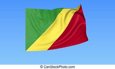 Waving flag of Kongo, seamless loop. Exact size, blue...