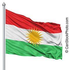 Waving flag of Kurdistan - Flag of Kurdistan with flagpole...