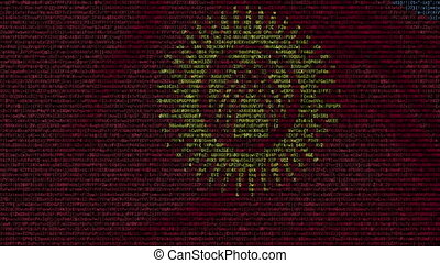 Waving flag of Kyrgyzstan made of text symbols on a computer...