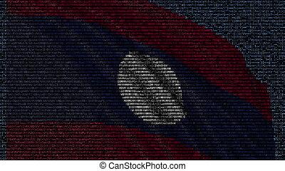 Waving flag of Laos made of text symbols on a computer screen. Conceptual 3D rendering