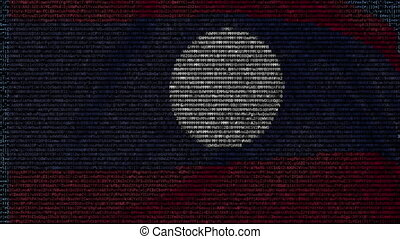 Waving flag of Laos made of text symbols on a computer...