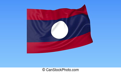 Waving flag of Laos, seamless loop. Exact size, blue background. Part of all countries set. 4K ProRes with alpha.