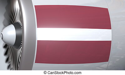 Waving flag of Latvia on airliner tourbine engine. Aviation related 3D rendering