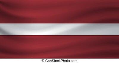 Waving flag of Latvia. Vector illustration