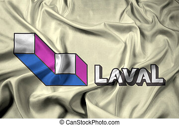 Waving Flag of Laval, Quebec, Canada