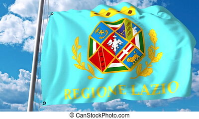 Waving flag of Lazio a region of Italy - Waving flag of...