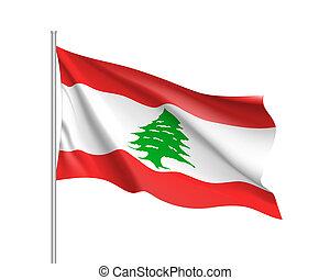 Waving flag of Lebanese Republic