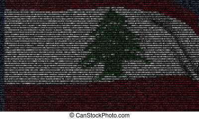 Waving flag of Lebanon made of text symbols on a computer screen. Conceptual loopable animation