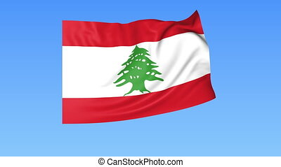 Waving flag of Lebanon, seamless loop. Exact size, blue...