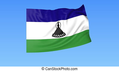Waving flag of Lesotho, seamless loop. Exact size, blue background. Part of all countries set. 4K ProRes with alpha.