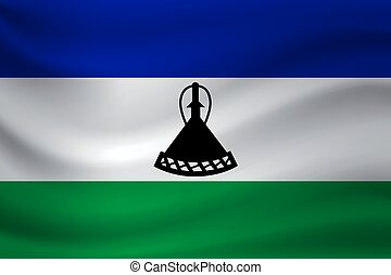 Waving flag of Lesotho. Vector illustration