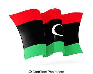 Waving flag of libya. 3D illustration