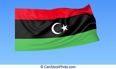 Waving flag of Libya, seamless loop. Exact size, blue background. Part of all countries set. 4K ProRes with alpha