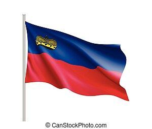 Waving flag of Liechtenstein state.