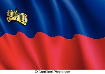 Waving flag of Liechtenstein.