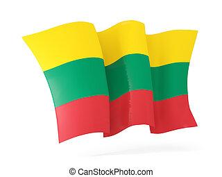 Waving flag of lithuania. 3D illustration