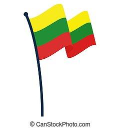 Waving flag of Lithuania
