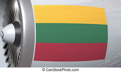Waving flag of Lithuania on airliner tourbine engine. Aviation related 3D rendering