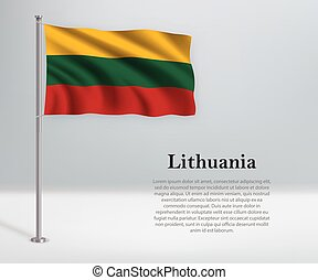 Waving flag of Lithuania on flagpole. Template for independence day