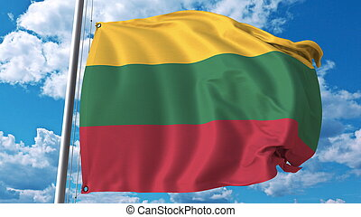 Waving flag of Lithuania on sky background. 3D rendering