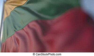 Waving flag of Lithuania, shallow focus close-up. Realistic loopable 3D animation