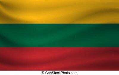 Waving flag of Lithuania. Vector illustration