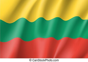 Waving flag of Lithuania