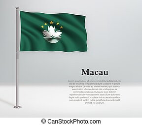 Waving flag of Macau on flagpole. Template for independence day