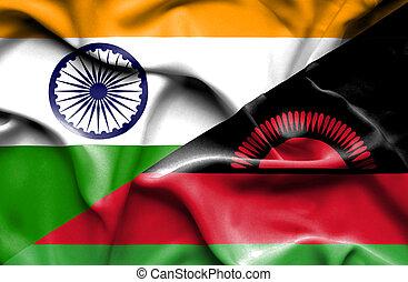Waving flag of Malawi and India - Waving flag of Malawi and