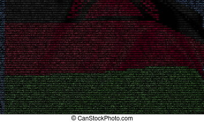 Waving flag of Malawi made of text symbols on a computer screen. Conceptual loopable animation