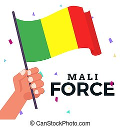 Waving flag of Mali - Isolated waving flag of Mali with ...