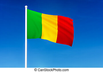Waving flag of Mali on the blue sky background