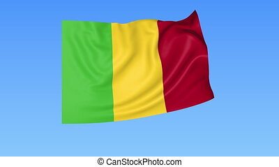 Waving flag of Mali, seamless loop. Exact size, blue...